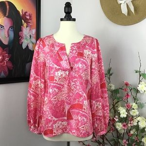 Lilly Pulitzer Jaiden Silk Blouse in Punch Pink